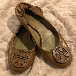 Tory Burch Reva Brown Leather Flats